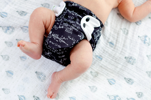 A baby who carries cloth diaper