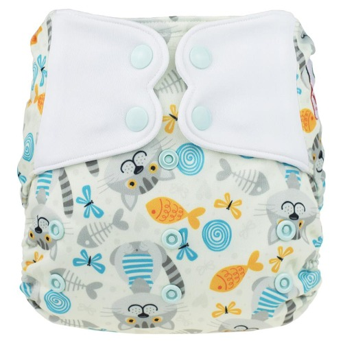 Elf Diaper (couche lavable évolutive à poche sans insert) Fish and cat