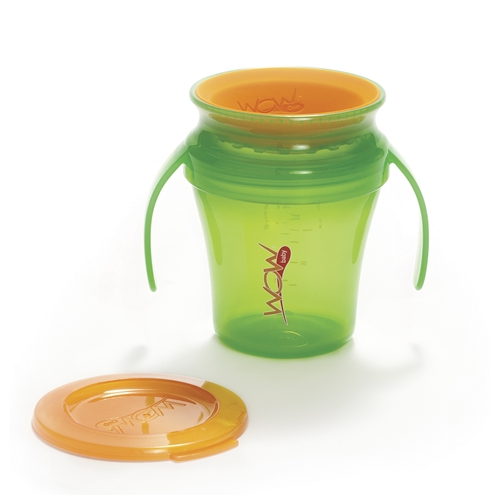 Gobelet WOW! Cup Juicy vert avec couvercle orange