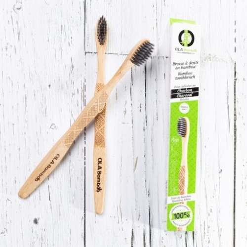 Ola Bamboo - Brosse à dents adulte souple charcoal