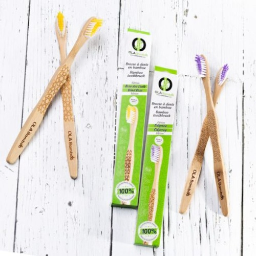 Ola Bamboo - Brosse à dents adulte souple rose des vents jaune
